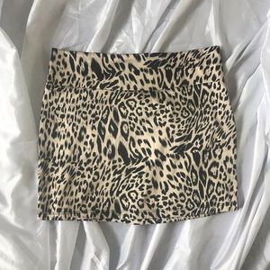 Leopard silky mini skirt
